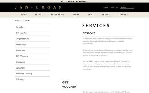 Screenshot of Services Page janlogan.com - Services - captured May 27, 2017