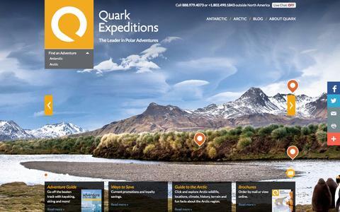 Screenshot of Home Page quarkexpeditions.com - Arctic & Antarctic Expedition Cruises | Quark Expeditions - captured Sept. 19, 2014