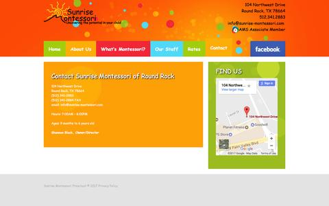 Screenshot of Contact Page sunrise-montessori.com - Contact - Sunrise Montessori Preschool - captured Jan. 24, 2017