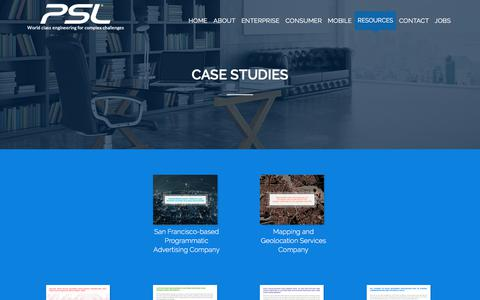 Screenshot of Case Studies Page pslcorp.com - Case Studies - PSL Software - captured Sept. 26, 2018