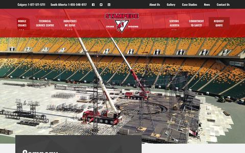 Screenshot of About Page stampedecrane.com - Our Company   Stampede Crane & Rigging - captured Oct. 20, 2018