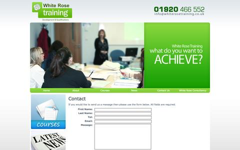 Screenshot of Contact Page whiterosetraining.co.uk - White Rose Training - Contact Us - captured Oct. 26, 2014