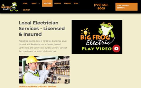 Screenshot of Services Page bigfrogelectric.com - Licensed Electrician Services | Buford - Alpharetta -Suwanee - captured Aug. 2, 2018