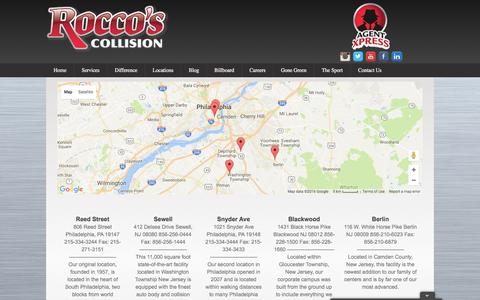 Screenshot of Locations Page roccoscollision.com - Locations | Rocco's Collision - captured Dec. 1, 2016