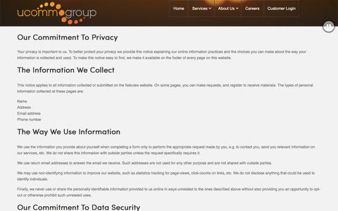 Screenshot of Privacy Page ucommgroup.com.au - Privacy - captured Jan. 12, 2016