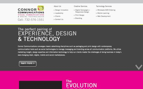 Screenshot of Home Page connorcom.com - Home - Connor Communications - captured Oct. 1, 2014