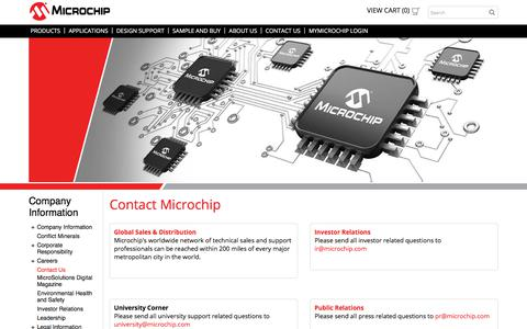 Screenshot of Contact Page microchip.com - Contact Us | Microchip Technology - captured April 9, 2018