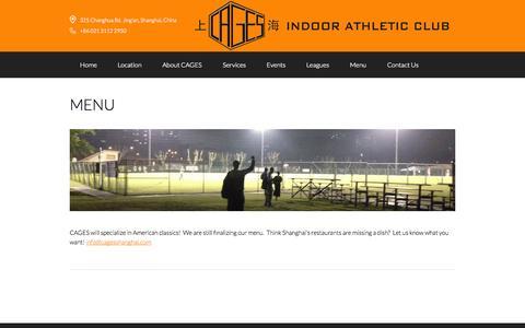 Screenshot of Menu Page cagesshanghai.com - Menu — Cages Indoor Athletic Club - captured Oct. 1, 2014