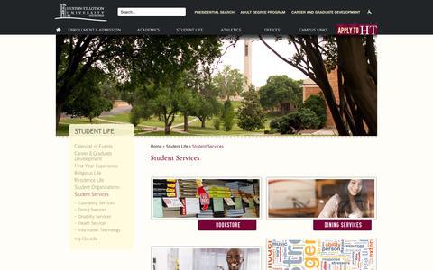 Screenshot of Services Page htu.edu - Student Services «  Huston-Tillotson - captured Oct. 3, 2014
