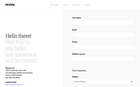 Screenshot of Contact Page revize.com - Contact Revize Content Management Software Services Web Design CMS Solutions - captured June 22, 2018