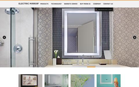 Screenshot of Home Page electricmirror.com - Electric Mirror Lighted Mirror and Mirror TV World leader. - captured Sept. 19, 2014