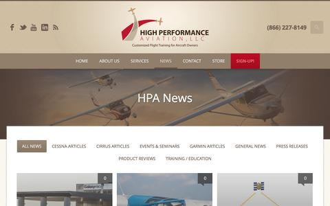 Screenshot of Press Page flyhpa.com - From Right Seat Passenger to Partner In Command (PIC) Course Cirrus Owners and Pilots Association (COPA) Safety Training | High Performance Aviation, LLC | Customized Flight Training for Aircraft Owners - captured Nov. 8, 2016