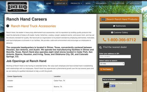 Screenshot of Jobs Page ranchhand.com - Ranch Hand Careers - captured Oct. 26, 2014