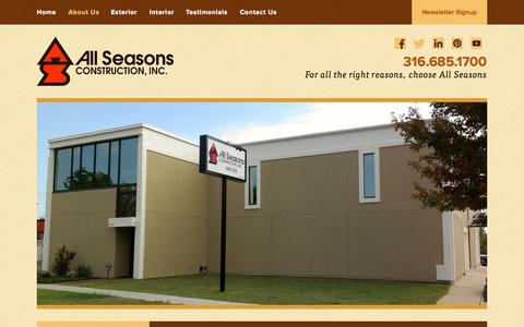Screenshot of About Page allseasonsconstruction.com - About Us | All Seasons Construction - captured Oct. 4, 2014
