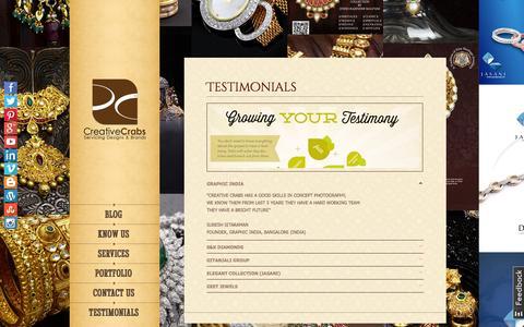 Screenshot of Testimonials Page creativecrabs.com - Reviews and Testimonials | Creative Crabs - captured Oct. 3, 2014