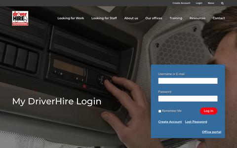 Screenshot of Login Page driverhire.co.uk - Log In - Driver Hire - captured May 24, 2018