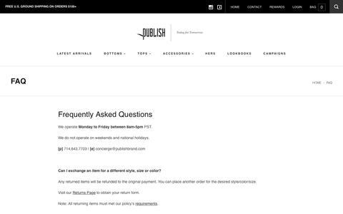 Screenshot of FAQ Page publishbrand.com - FAQ – Publish Online Shop - captured Sept. 23, 2018