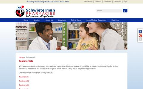 Screenshot of Testimonials Page schwietermanpharmacy.com - Testimonials | Schwietermans Pharmacy - captured April 23, 2017