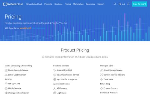 Screenshot of Pricing Page alibabacloud.com - Alibaba Cloud Pricing Principles - captured July 5, 2017