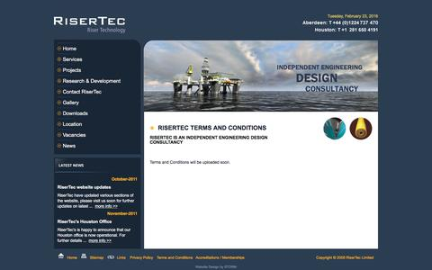 Screenshot of Terms Page risertec.com - RiserTec – Riser Technology – Deepwater Riser and Subsea Solutions - Aberdeen - captured Feb. 23, 2016