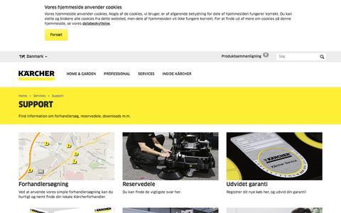Screenshot of Support Page kaercher.com - Support   Kärcher Danmark - captured June 27, 2018