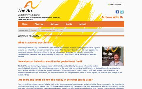 Screenshot of FAQ Page communityadvocates.org - The Arc Community Advocates > Services > Pooled Amenities Trust > FAQ - captured Oct. 27, 2014