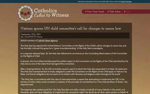 Screenshot of Press Page cc2w.org - Read Posts - Catholic Witnesses - captured Oct. 2, 2014