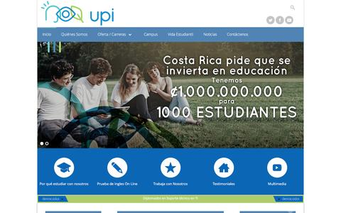 Screenshot of Home Page upi.ac.cr - Inicio - Universidad Politécnica Internacional - captured Jan. 29, 2016