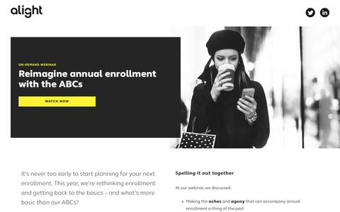 Screenshot of Landing Page alight.com - Reimagine annual enrollment with the ABCs | Alight Solutions - captured May 6, 2018