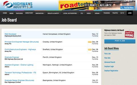 Screenshot of Jobs Page highwaysindustry.com - Job Board - captured Dec. 10, 2015