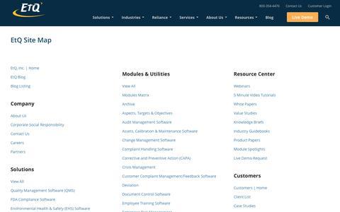 EtQ Site Map