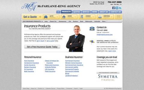 Screenshot of Products Page mkainsurance.com - Michigan Insurance Products from McFarlane-King Agency Garden City, Michigan - captured Nov. 28, 2016