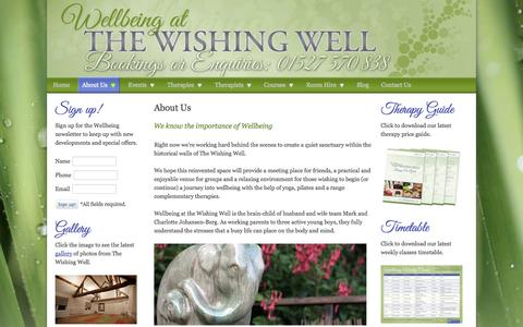 Screenshot of About Page wellbeingbromsgrove.co.uk - Begin your journey into Wellbeing with the help of yoga, pilates and a range complementary therapies - Wellbeing at The Wishing Well, Bromsgrove - captured Oct. 7, 2014