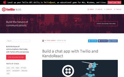 Screenshot of Blog twilio.com - Build a chat app with Twilio and KendoReact - Twilio - captured Nov. 28, 2019