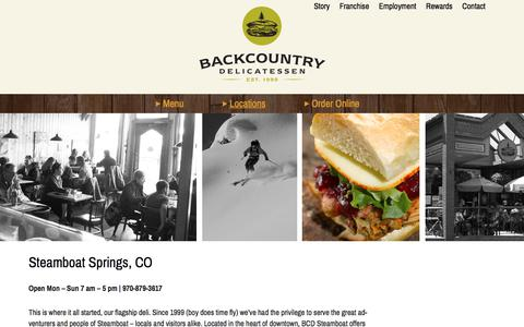 Screenshot of Locations Page backcountry-deli.com - Steamboat Springs, CO - Backcountry Delicatessen - captured Oct. 9, 2017