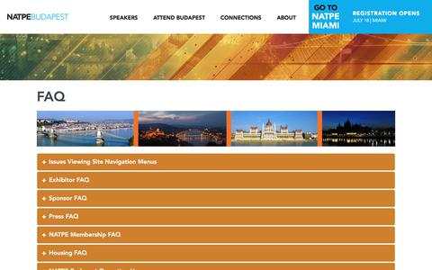 Screenshot of FAQ Page natpe.com - NATPE | Find answers to Frequently Asked Questions about NATPE Budapest. - captured July 4, 2017