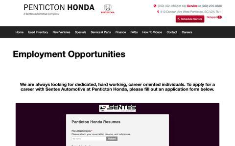 Screenshot of Jobs Page pentictonhonda.com - Employment in Penticton, British Columbia at Penticton Honda, BC - captured Nov. 4, 2018