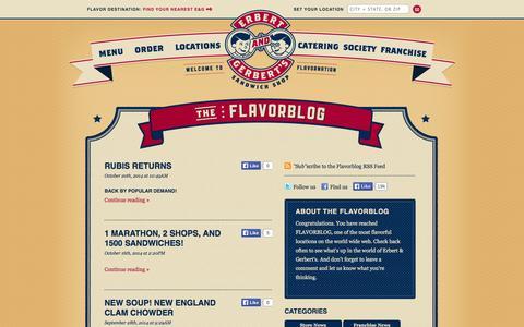 Screenshot of Blog erbertandgerberts.com - Flavorblog | Erbert & Gerbert's Sandwich Shop - captured Nov. 2, 2014