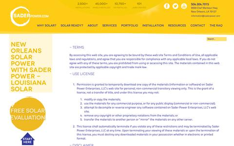 Screenshot of Terms Page saderpower.com - New Orleans Solar Power with Sader Power - Louisiana Solar Sader Power - captured Sept. 30, 2014