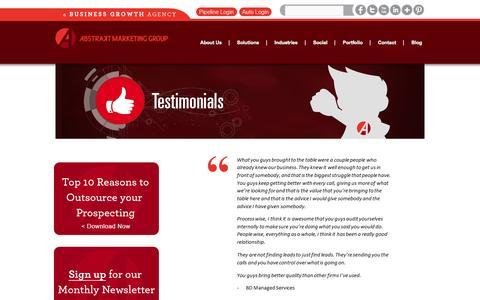 Screenshot of Testimonials Page abstraktmg.com - Testimonials  | Abstrakt Marketing Group - captured Sept. 23, 2014