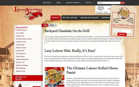 Screenshot of Blog lobsteranywhere.com - Maine Seafood and Cooking Blog from LobsterAnywhere - captured Nov. 12, 2016