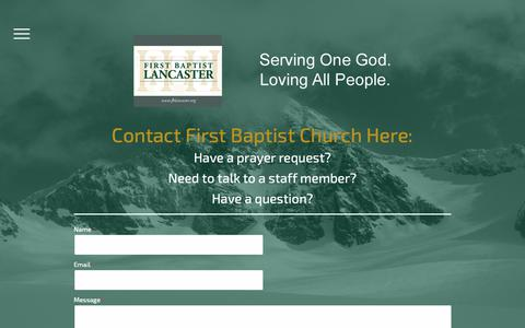 Screenshot of Contact Page fblancaster.org - Contact First Baptist Church Here: - fblancaster - captured Dec. 19, 2018