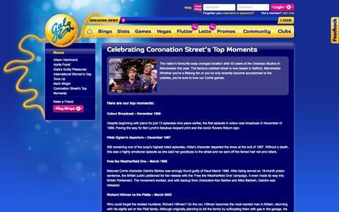 Screenshot of Press Page galabingo.com - Coronation Street Top Moment's - captured Sept. 18, 2014