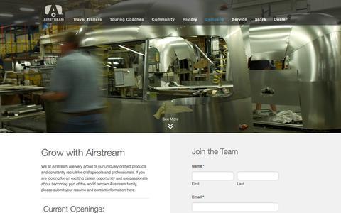 Screenshot of Jobs Page airstream.com - Airstream Careers, Apply at Airstream | Airstream - captured Feb. 29, 2016