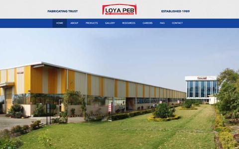 Screenshot of Home Page loyapeb.com - LOYA PEB | Steel Buildings - captured Nov. 13, 2016