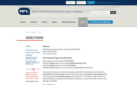 Screenshot of Maps & Directions Page rflelect.com - Directions - captured Oct. 22, 2017
