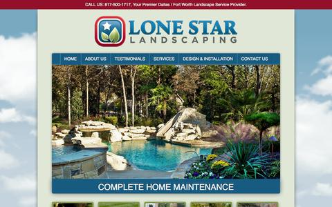 Screenshot of Home Page lonestarlandscaping.com - Lone Star Landscaping | Premiere Landscape Services for Dallas/Fort Worth - captured Sept. 30, 2014