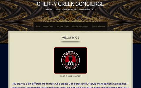 Screenshot of About Page cherrycreekconcierge.com - About Page /Cherry Creek Concierge | CHERRY CREEK CONCIERGE - captured July 20, 2015