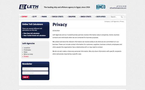 Screenshot of Privacy Page lethagencies.com - Privacy | Leth Suez - captured July 14, 2018