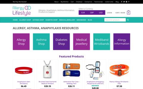 Screenshot of Home Page allergylifestyle.com - Online Shop | Allergy & Asthma Products | Ship Worldwide - captured Feb. 5, 2016